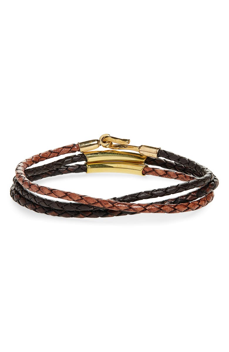 CAPUTO & CO. Braided Leather Bracelet, Main, color, 200