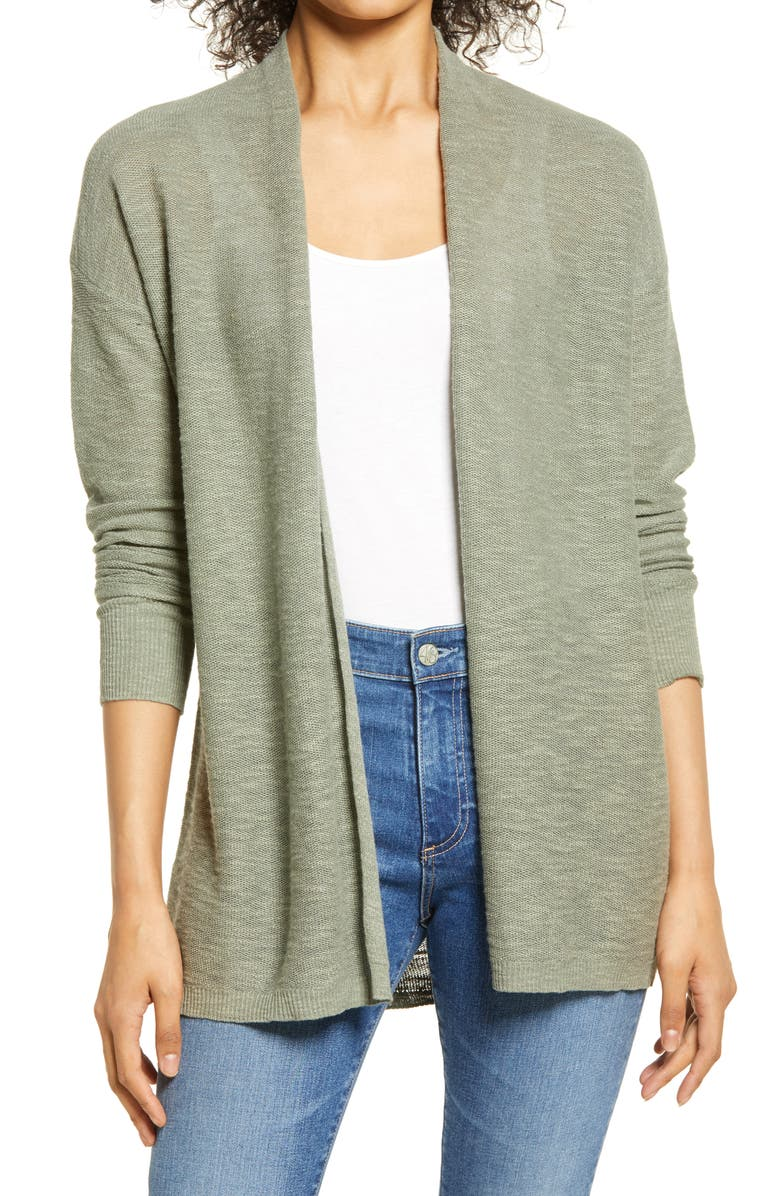 CASLON<SUP>®</SUP> Linen & Cotton Open Front Cardigan, Main, color, GREEN DUNE