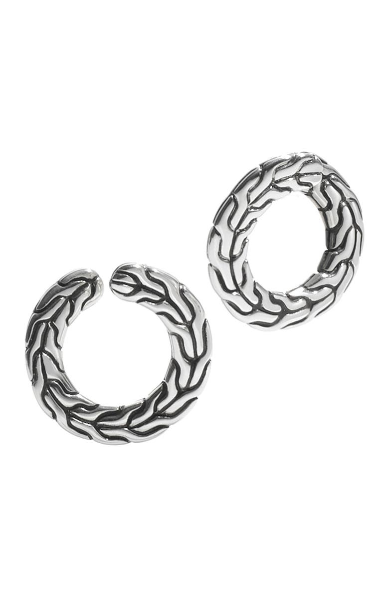 JOHN HARDY Sterling Silver Textured Open Circle Stud Earrings, Main, color, NO COLOR