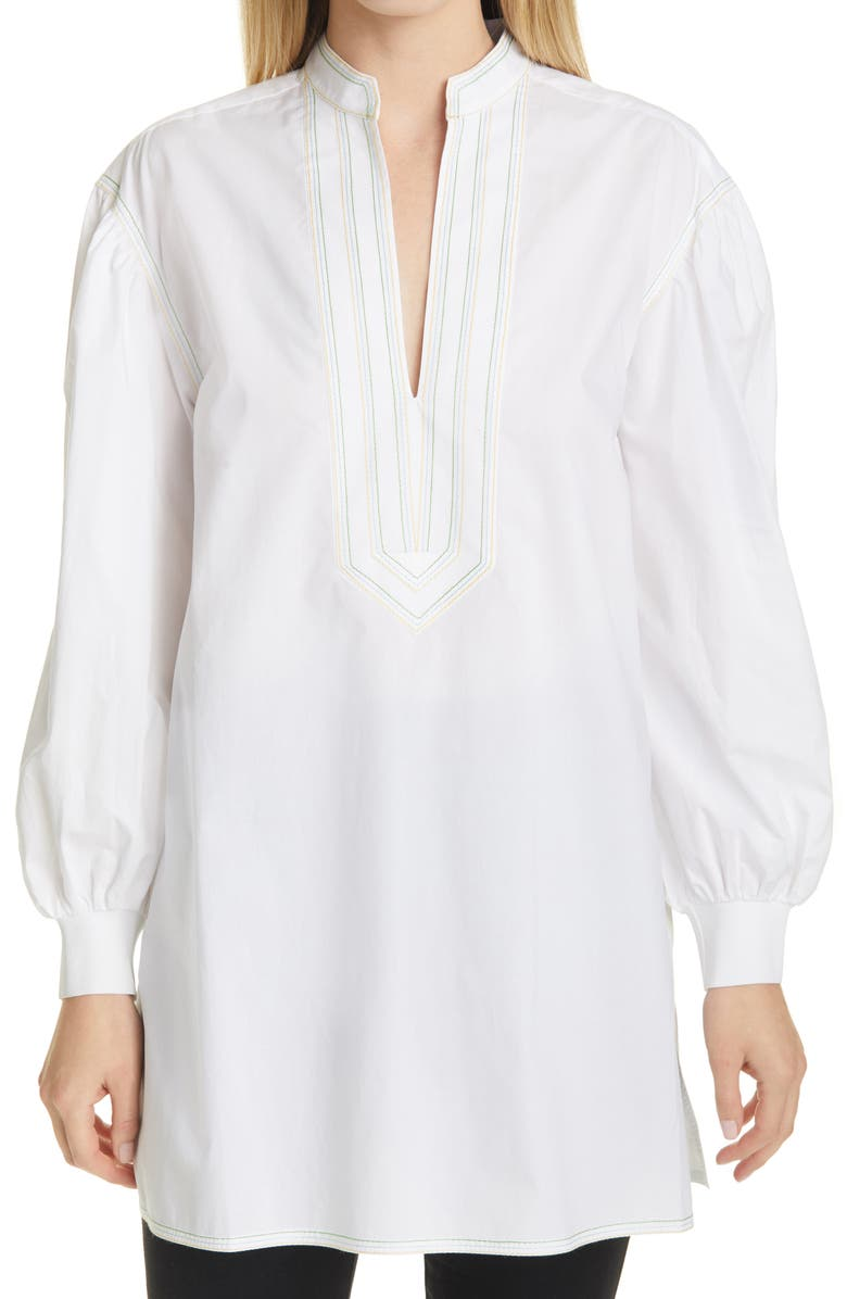 TORY BURCH Tunic Top, Main, color, WHITE