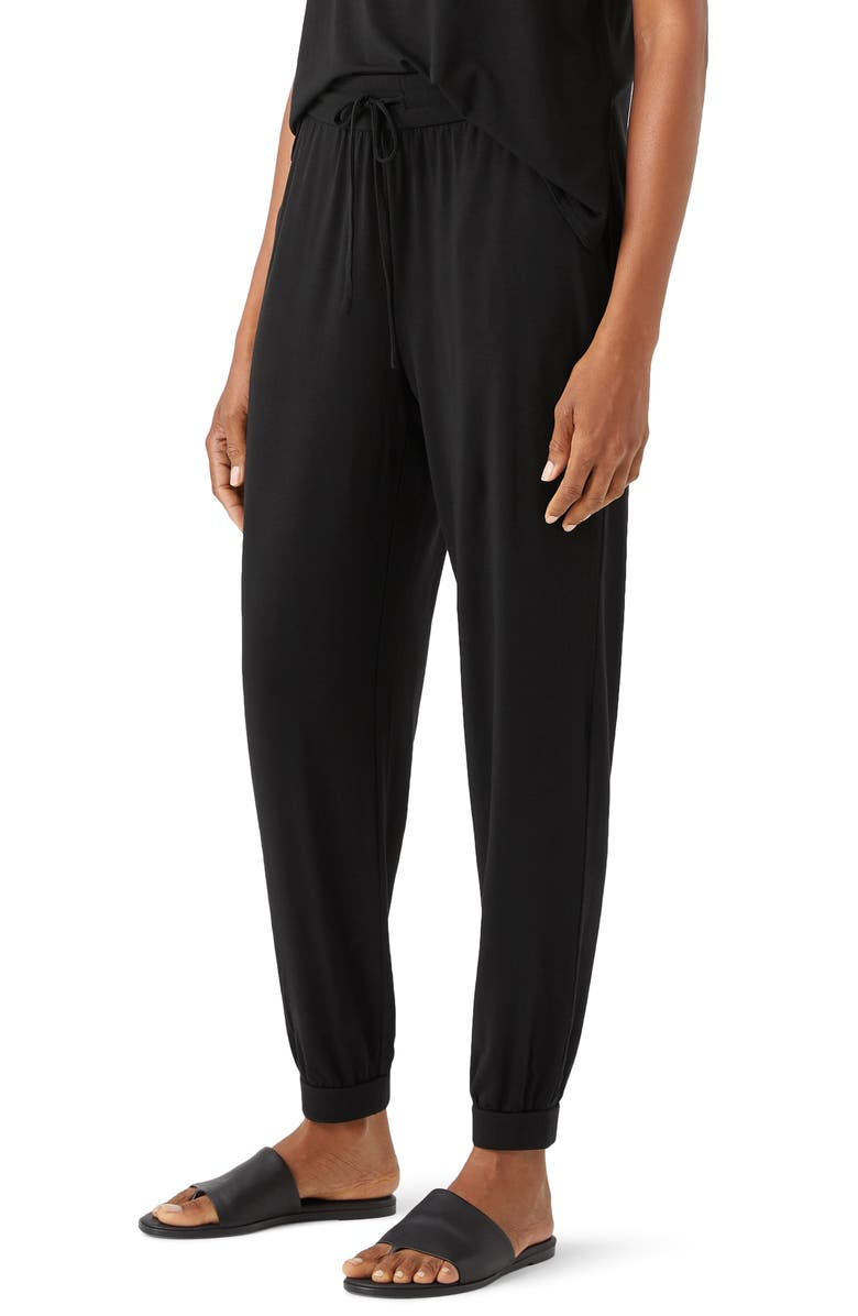 EILEEN FISHER Slouchy Jersey Pants, Main, color, BLACK