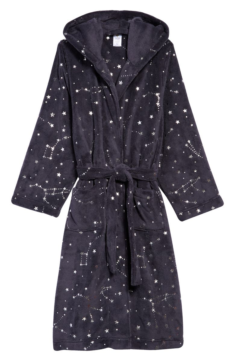 TUCKER + TATE x Smithsonian Hooded Plush Robe, Main, color, NAVY CHARCOAL CONSTELLATIONS