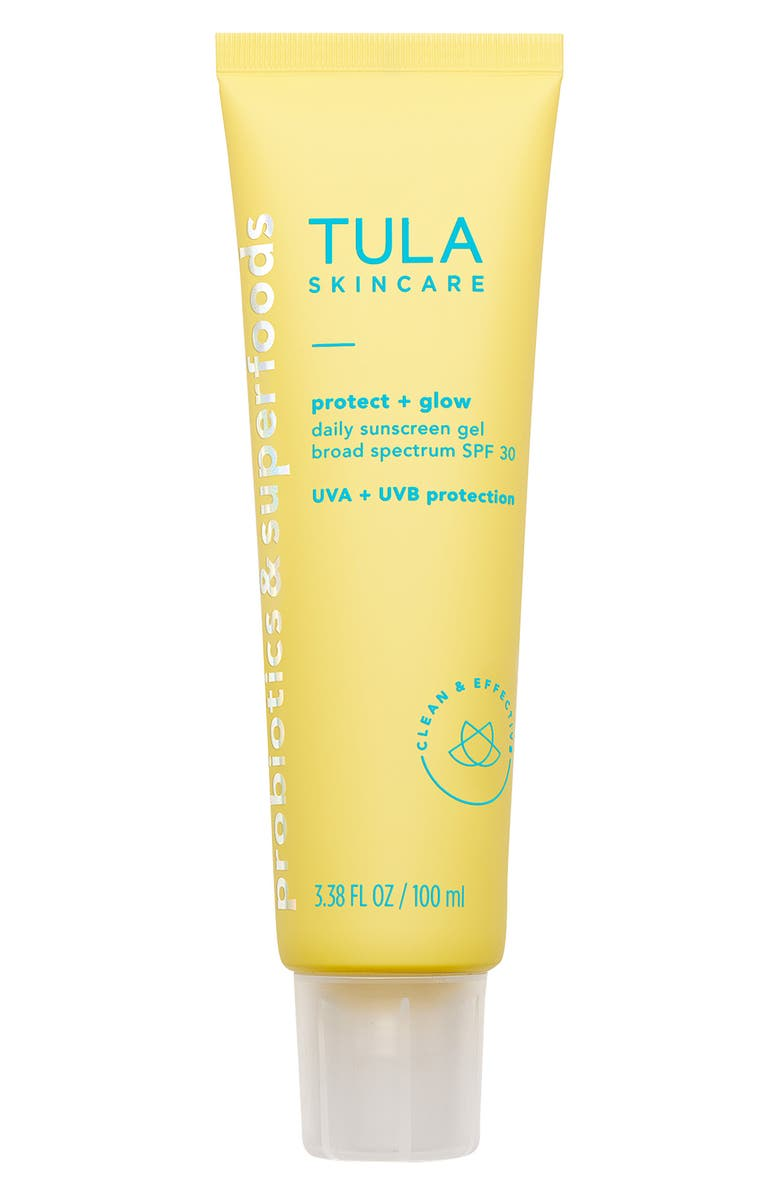 TULA SKINCARE Protect + Glow Daily Sunscreen Gel Broad Spectrum SPF 30, Main, color, NO COLOR