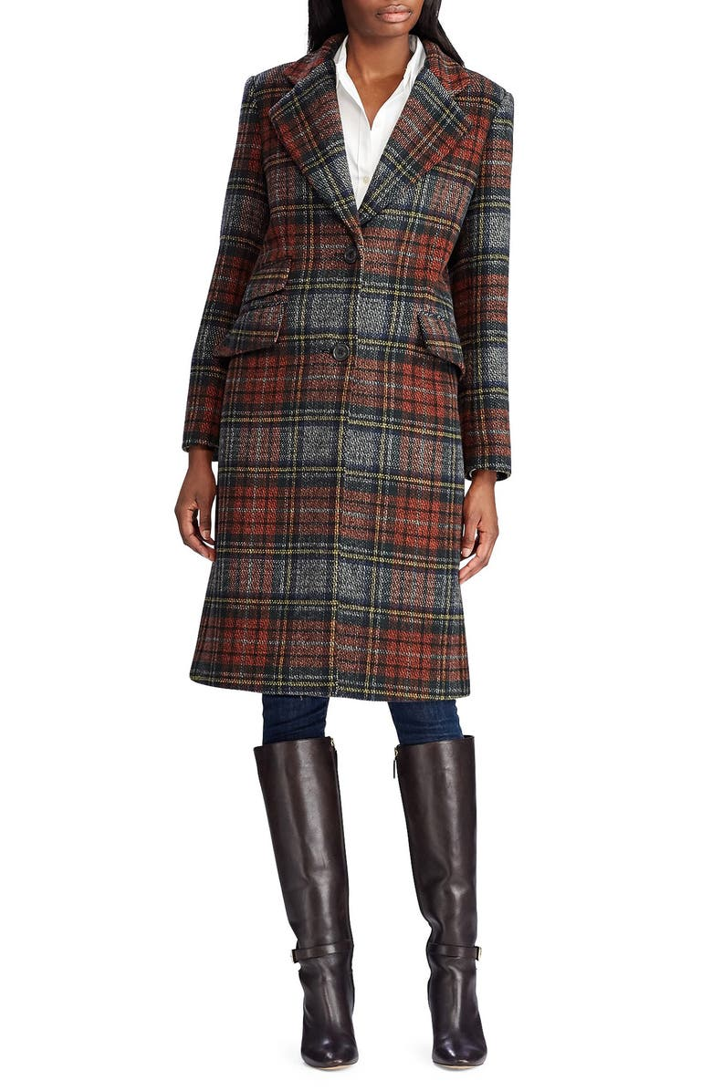 LAUREN RALPH LAUREN Plaid Reefer Coat, Main, color, BLANKET PLAID