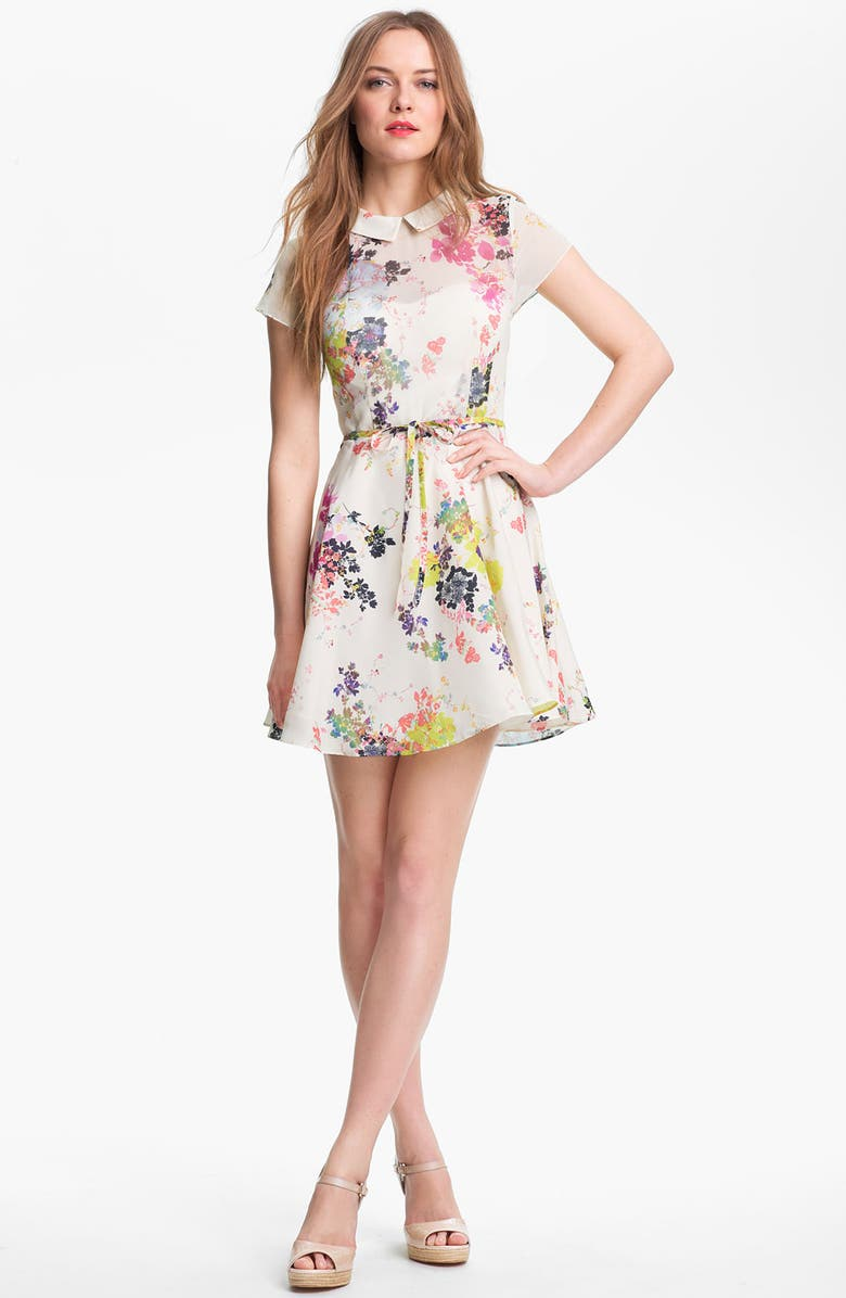 TED BAKER LONDON Print Fit & Flare Dress, Main, color, CREAM