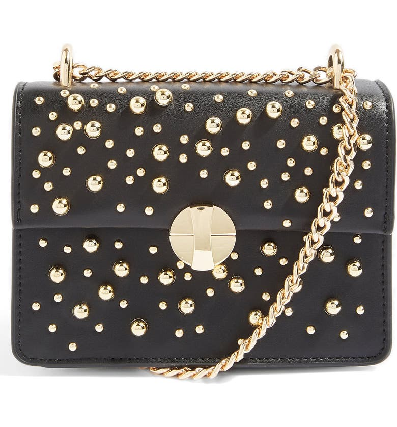 TOPSHOP Betty Ball Stud Faux Leather Crossbody Bag, Main, color, BLACK MULTI