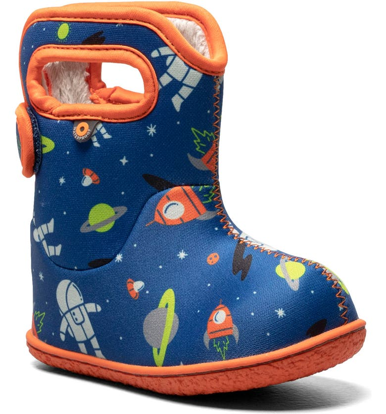 BOGS Baby Bogs Space Print Insulated Waterproof Boot, Main, color, BLUE MULTI