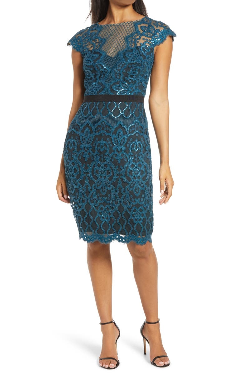 TADASHI SHOJI Sequin Lace Cocktail Dress, Main, color, STARRY NIGHT/ BLACK