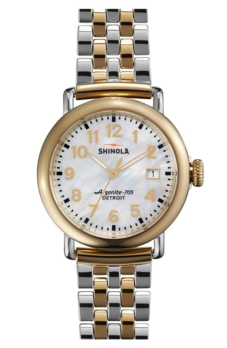SHINOLA 'The Runwell' Bracelet Watch, 36mm, Main, color, GOLD/ SILVER
