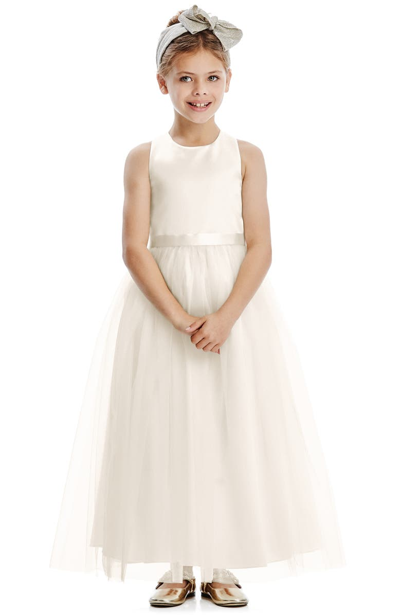 DESSY COLLECTION Tulle Skirt Flower Girl Dress, Main, color, IVORY