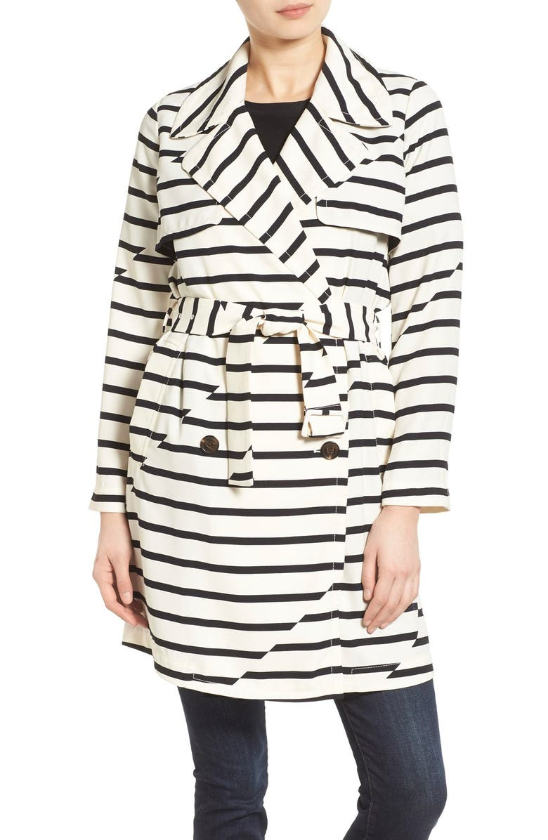 MADEWELL 'Parcel' Stripe Trench Coat, Main, color, VINTAGE LACE