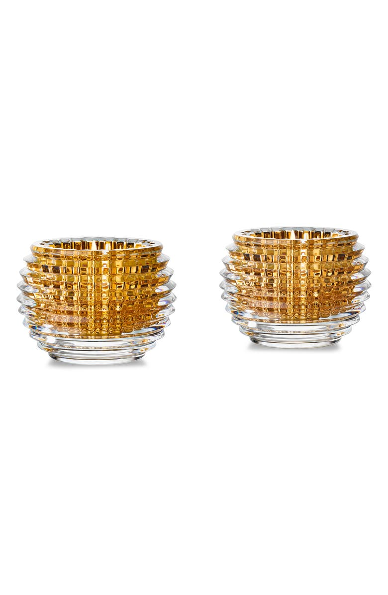 BACCARAT Eye Set of 2 20K Gold & Lead Crystal Votives, Main, color, GOLD