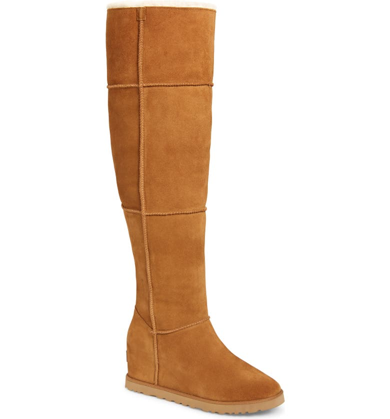 UGG Classic Femme Over the Knee Wedge Boot, Main, color, CHESTNUT SUEDE