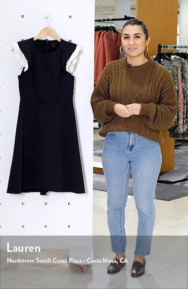 Contrast Ruffle Sleeve Cocktail Dress, sales video thumbnail