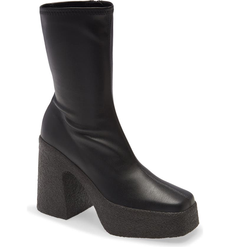 STELLA MCCARTNEY Square Toe Platform Bootie, Main, color, BLACK