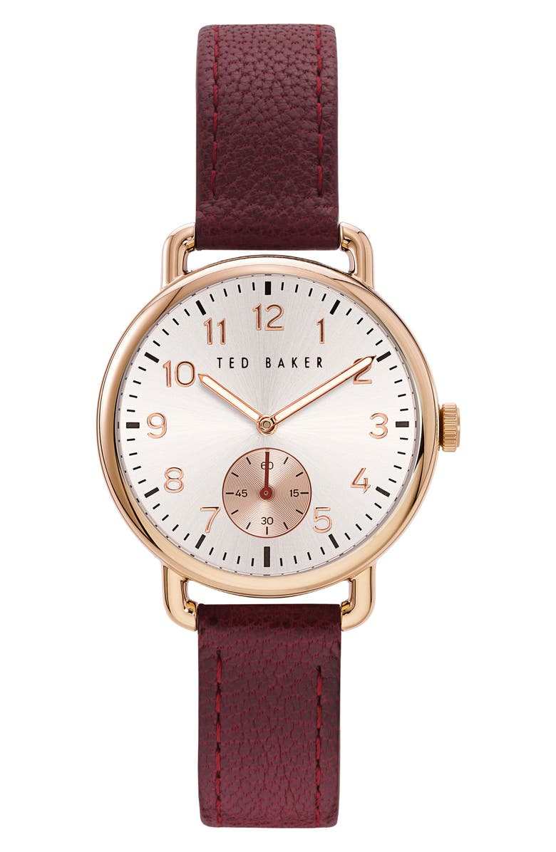 TED BAKER LONDON Women's Hannah Sub Leather Strap Watch, 34mm, Main, color, BORDEAUX/ SILVER/ GOLD