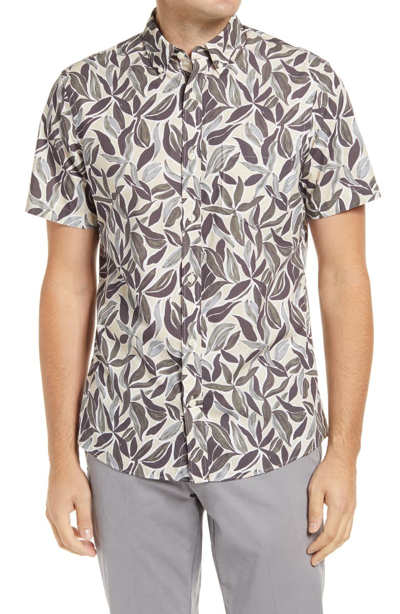 1901 Trim Fit Pressed Palms Print Short Sleeve Button-Down Shirt, Main, color, TAN NANTUCKET PRESSED PALMS