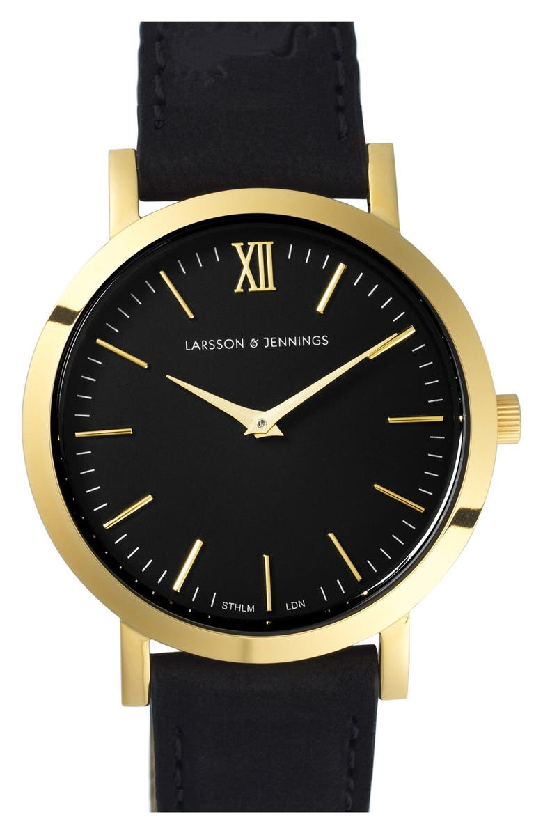 LARSSON & JENNINGS 'Lugano' Leather Strap Watch, 33mm, Main, color, 001