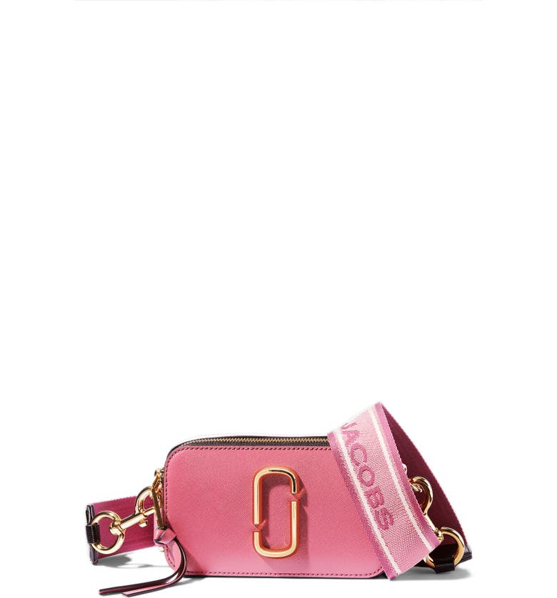 THE MARC JACOBS The Snapshot Leather Crossbody Bag, Main, color, DUSTY RUBY MULTI