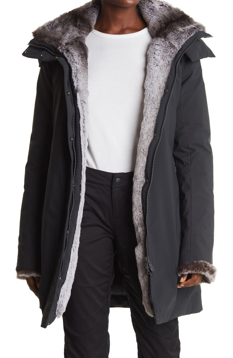 SAVE THE DUCK Hooded Coat, Main, color, 1470 SHADOW BLACK