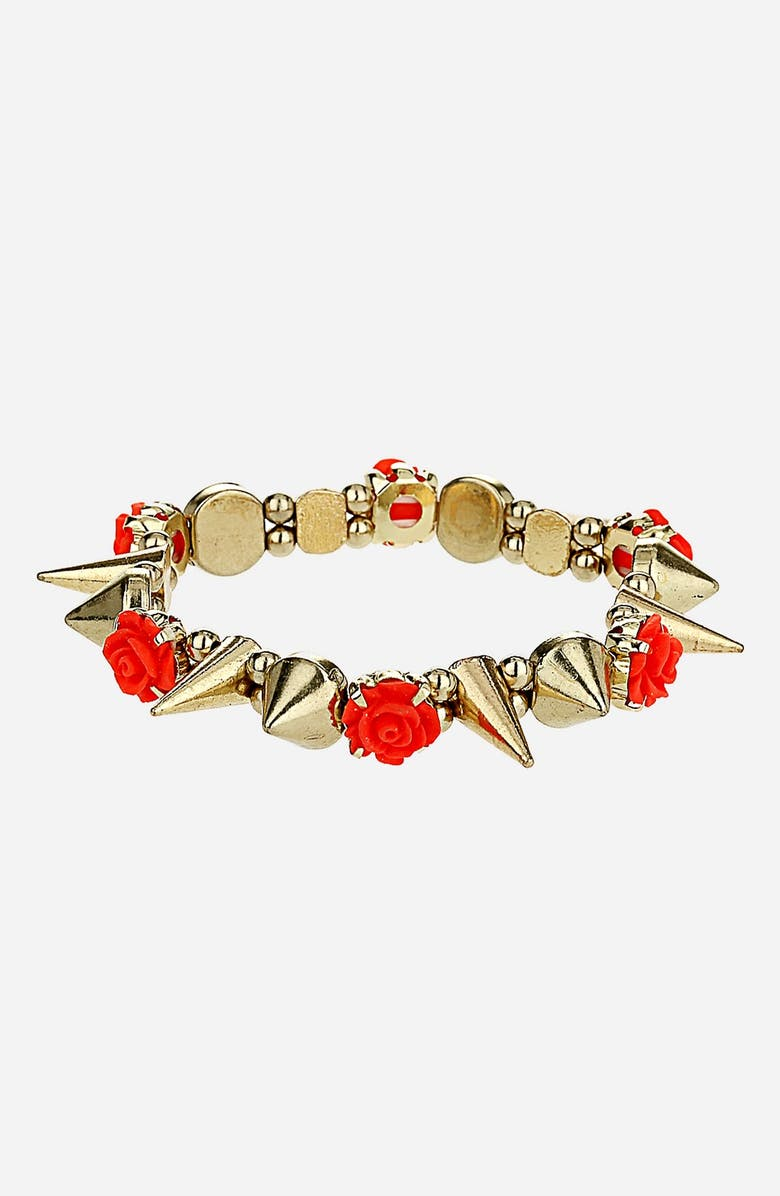 TOPSHOP Flower & Stud Stretch Bracelet, Main, color, 710