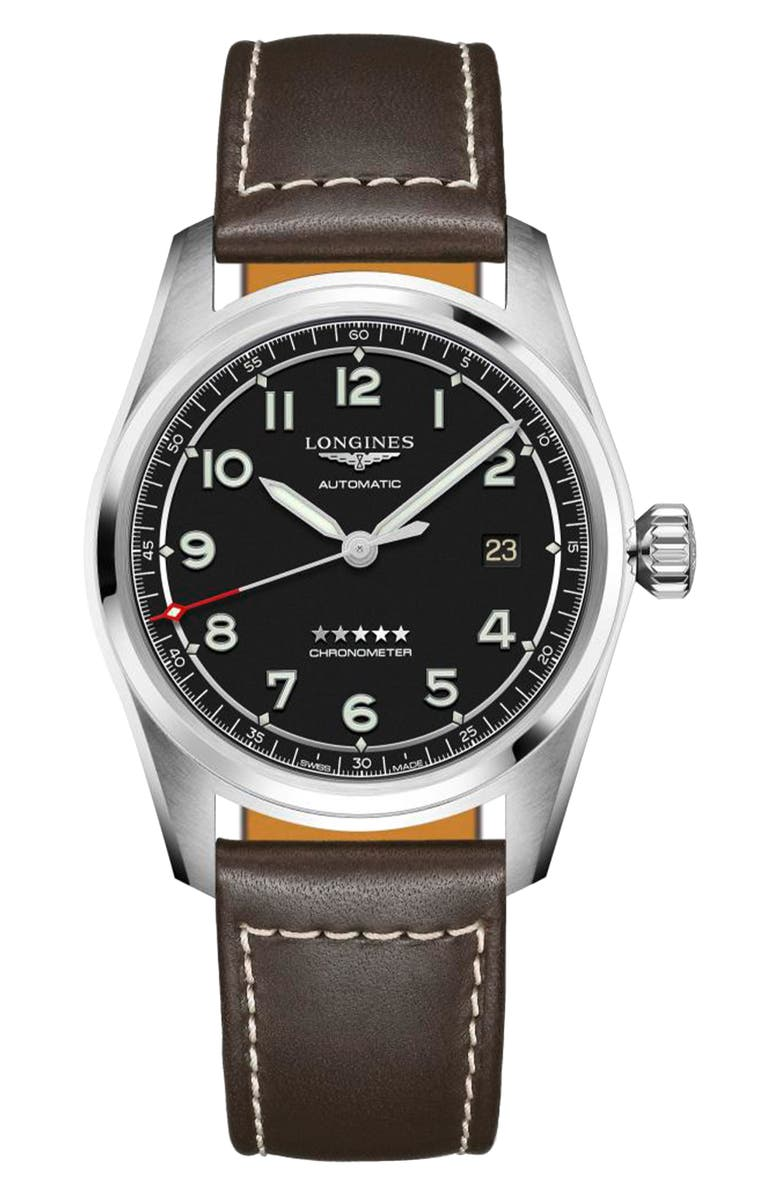 LONGINES Spirit Automatic Leather Strap Watch, 40mm, Main, color, BLACK/ SILVER/ BROWN