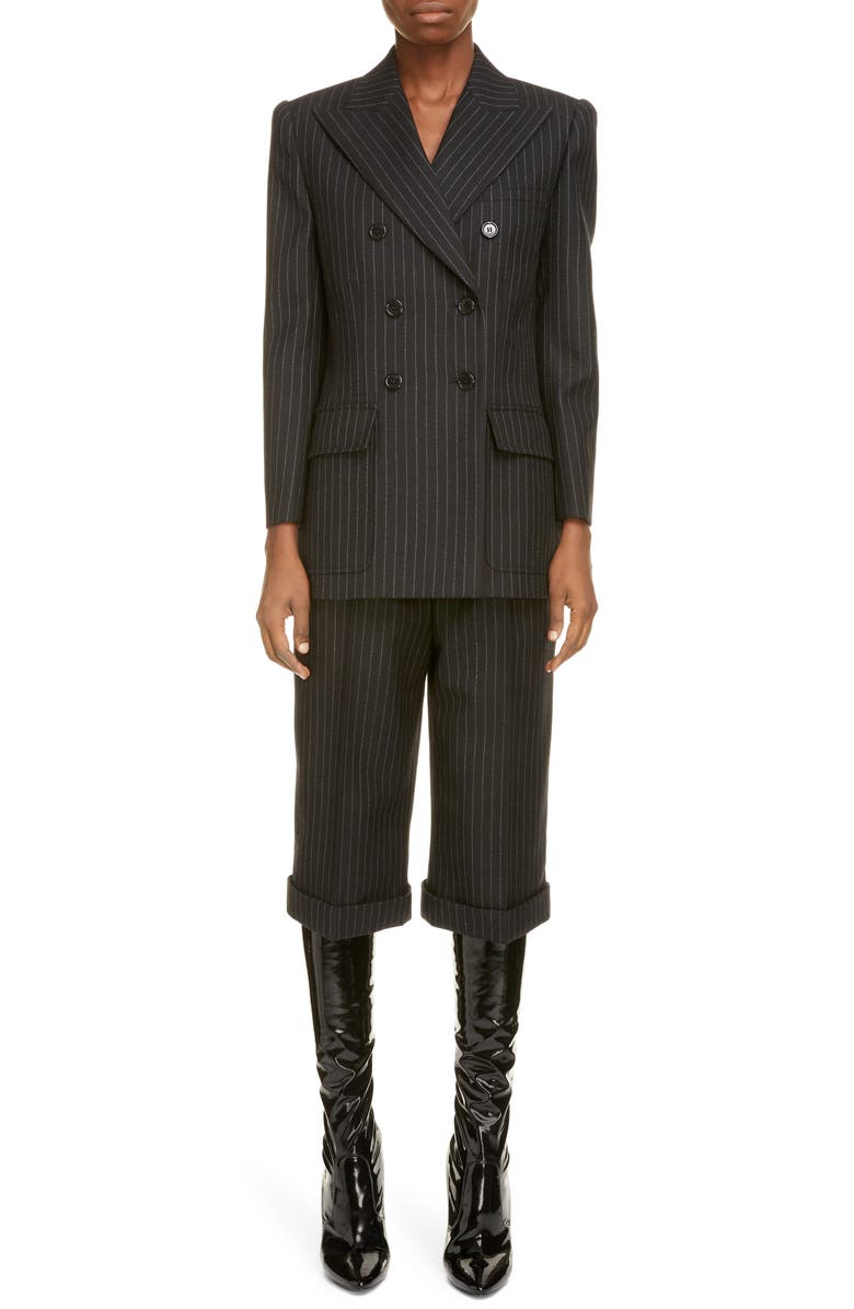 SAINT LAURENT Double Breasted Pinstripe Wool Blazer, Main, color, NOIR BLANC