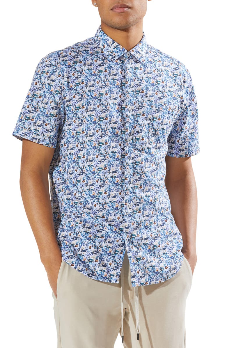 GOOD MAN BRAND On Point Slim Fit Short Sleeve Button-Up Shirt, Main, color, WHITE MAGNOLIA VIN FLORAL