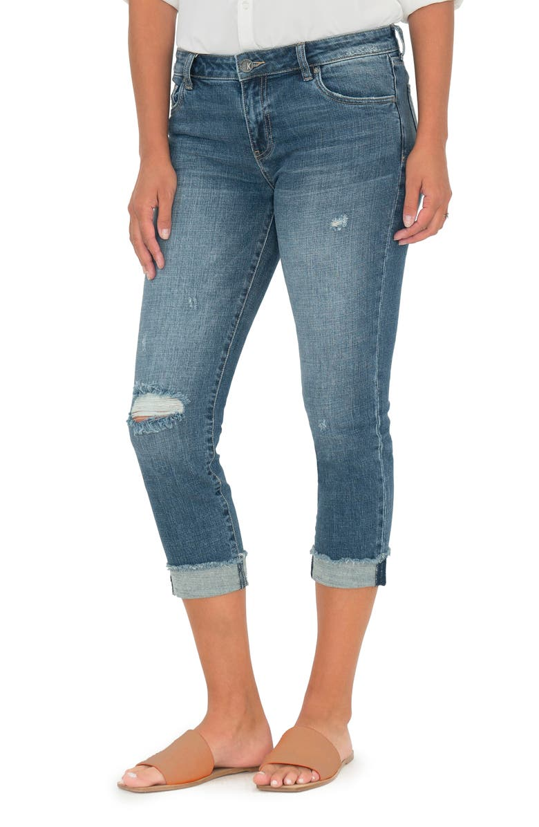 KUT FROM THE KLOTH Amy Ripped Straight Leg Roll Cuff Jeans, Main, color, BUBBLY