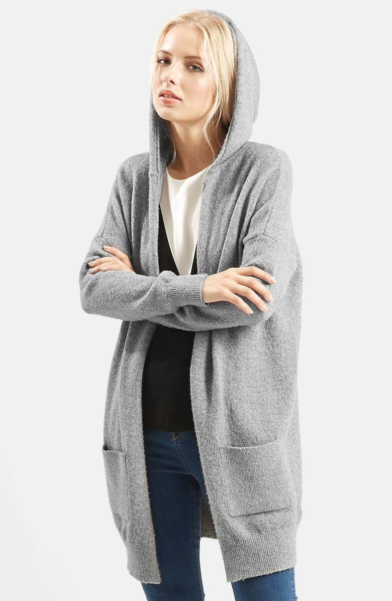TOPSHOP Open Front Hooded Cardigan, Main, color, 020