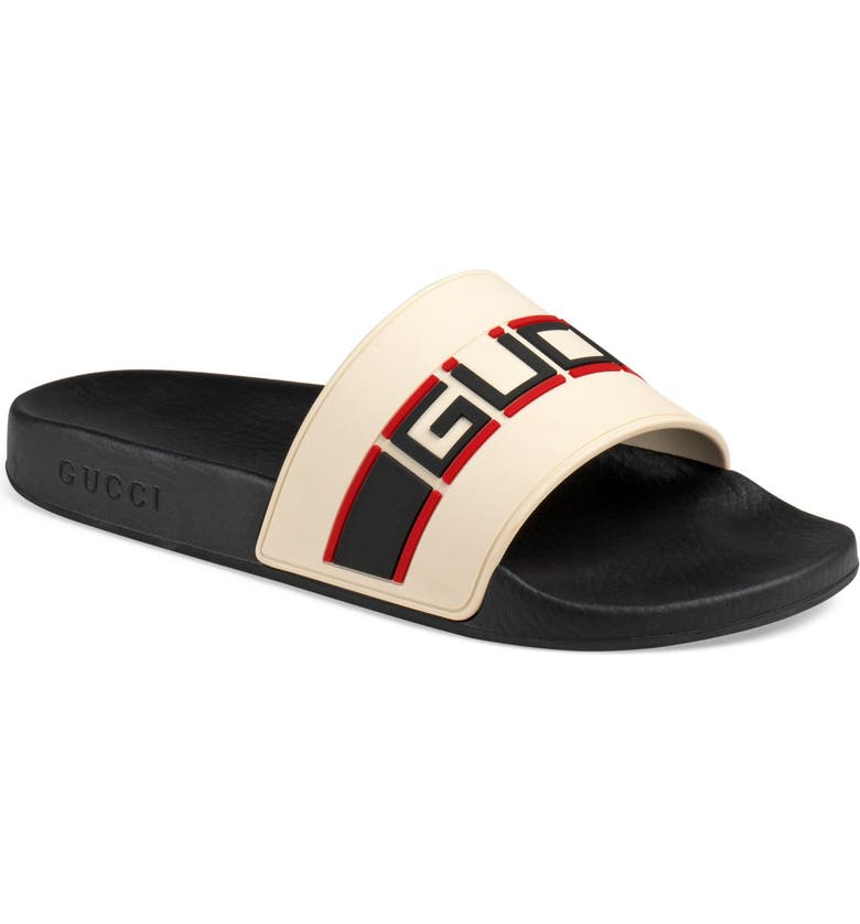 GUCCI Logo Sport Slide, Main, color, WHITE/ POPPY/ NERO