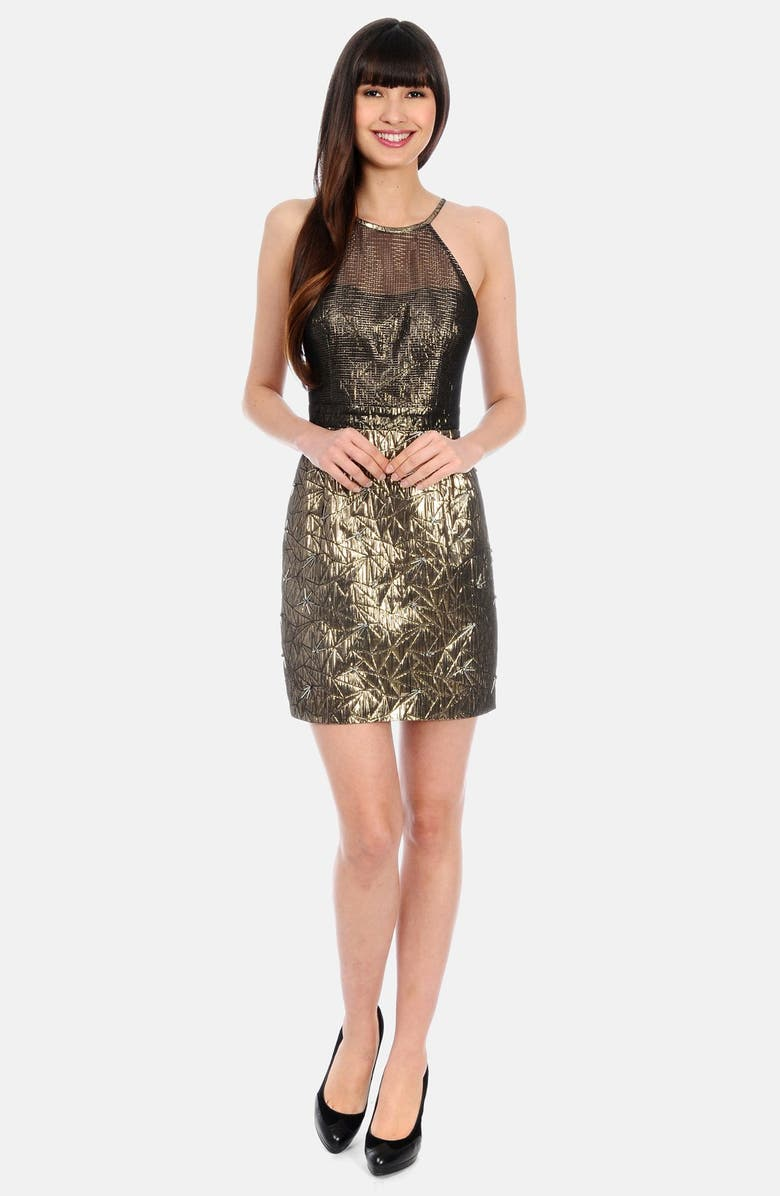 PHOEBE Metallic Textured Strappy Dress, Main, color, 710