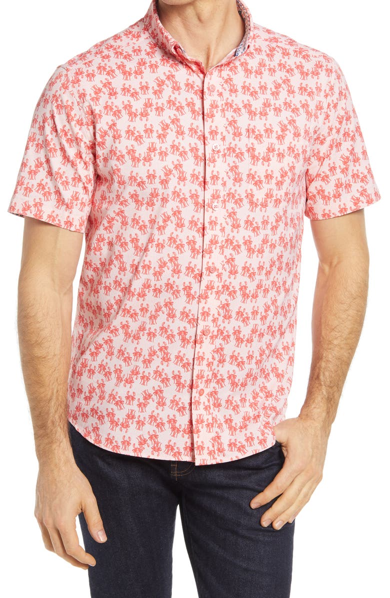 JOHNSTON & MURPHY XC4 Non-Iron Lobster Short Sleeve Button-Up Shirt, Main, color, CORAL