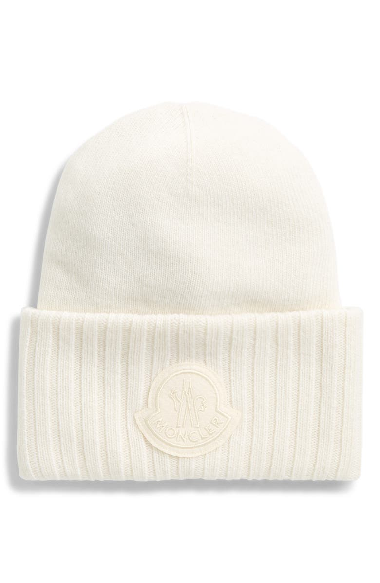 MONCLER Logo Patch Wool Beanie, Main, color, 101