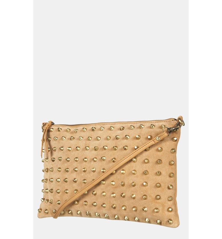 TOPSHOP Studded Suede Clutch, Main, color, 250