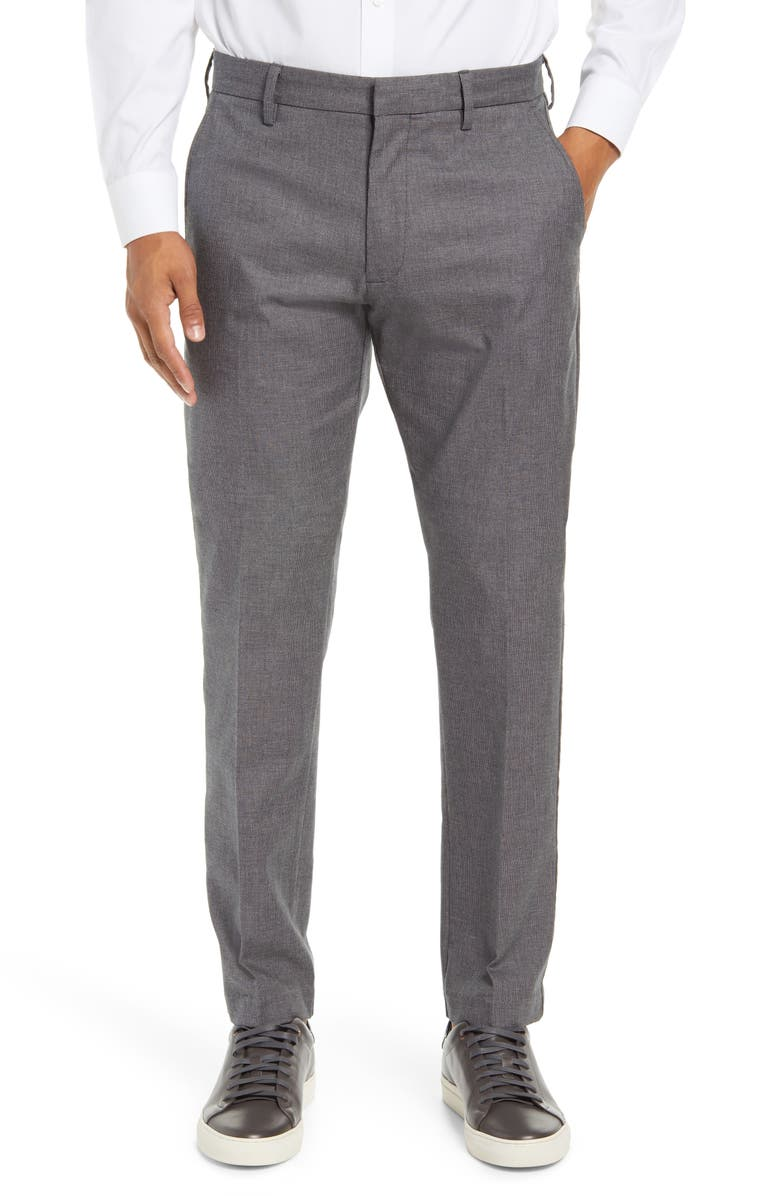 NORDSTROM Men's Shop Non-Iron Athletic Fit Textured Pants, Main, color, CHARCOAL HEATHER DOBBY