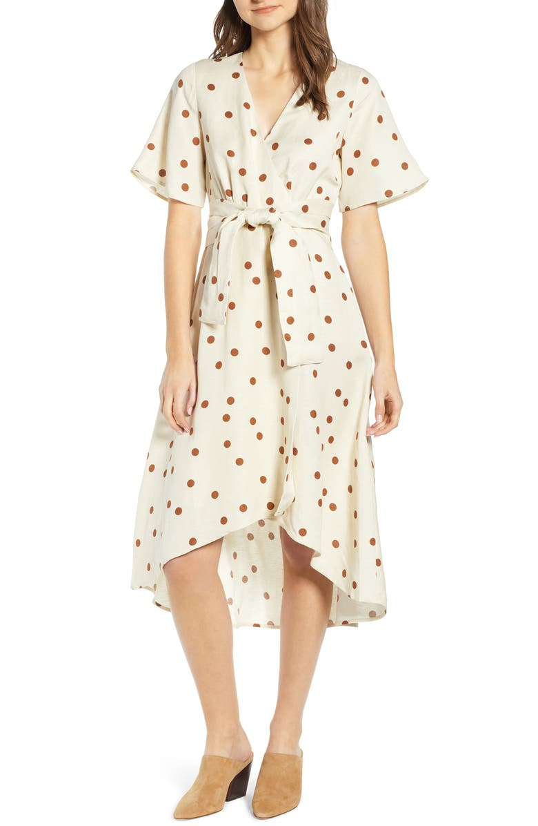 MOON RIVER Polka Dot Linen Blend Midi Wrap Dress, Main, color, 250