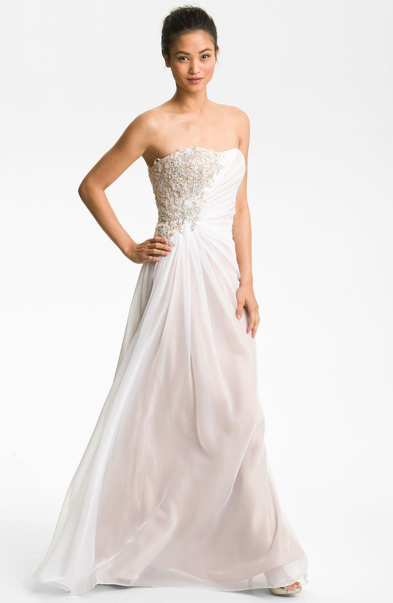 LA FEMME Embellished Strapless Chiffon Gown, Main, color, 101