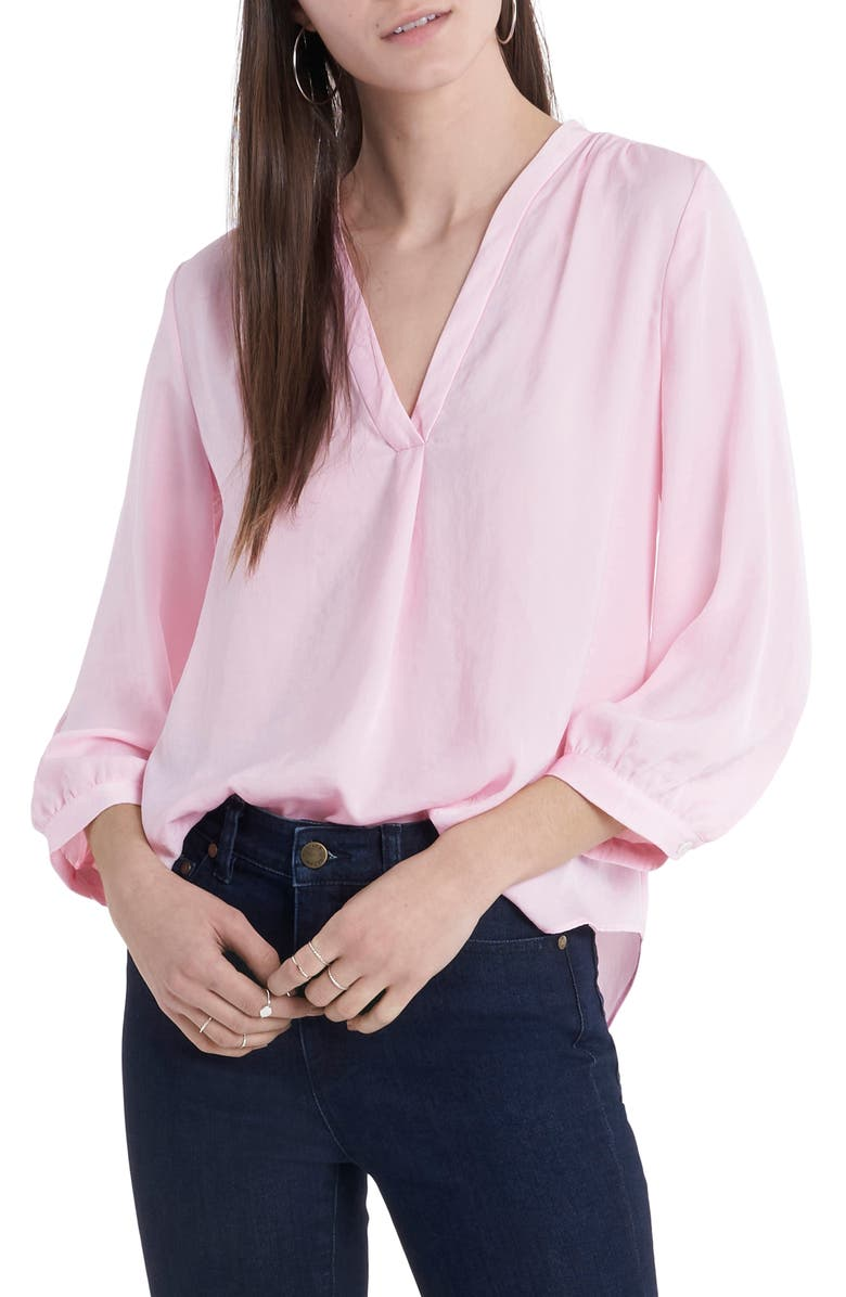 VINCE CAMUTO Rumple Fabric Blouse, Main, color, PINK IRIS