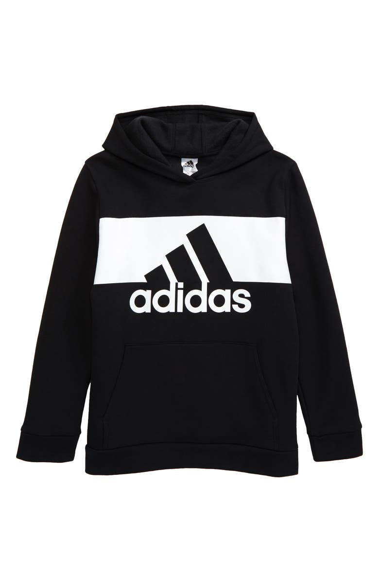 ADIDAS Kids' Badge of Sports Logo Hooded Sweatshirt, Main, color, 003
