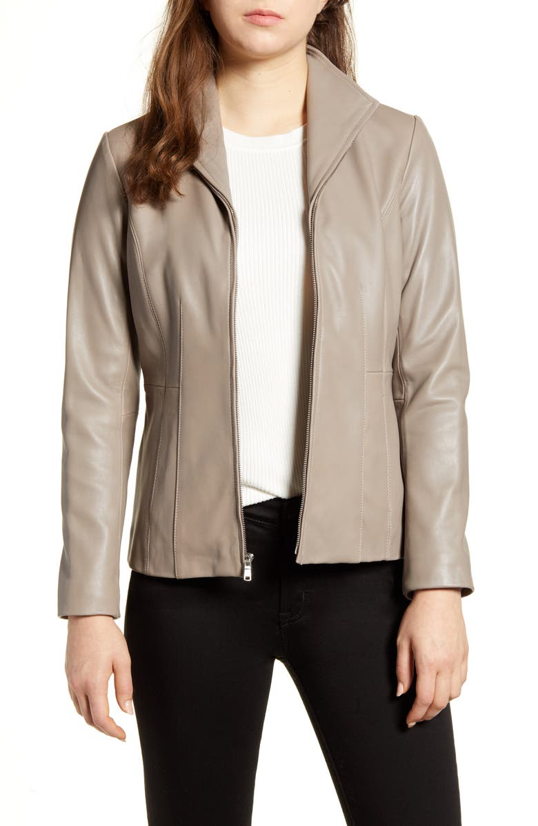 COLE HAAN SIGNATURE Cole Haan Lambskin Leather Jacket, Main, color, CEMENT