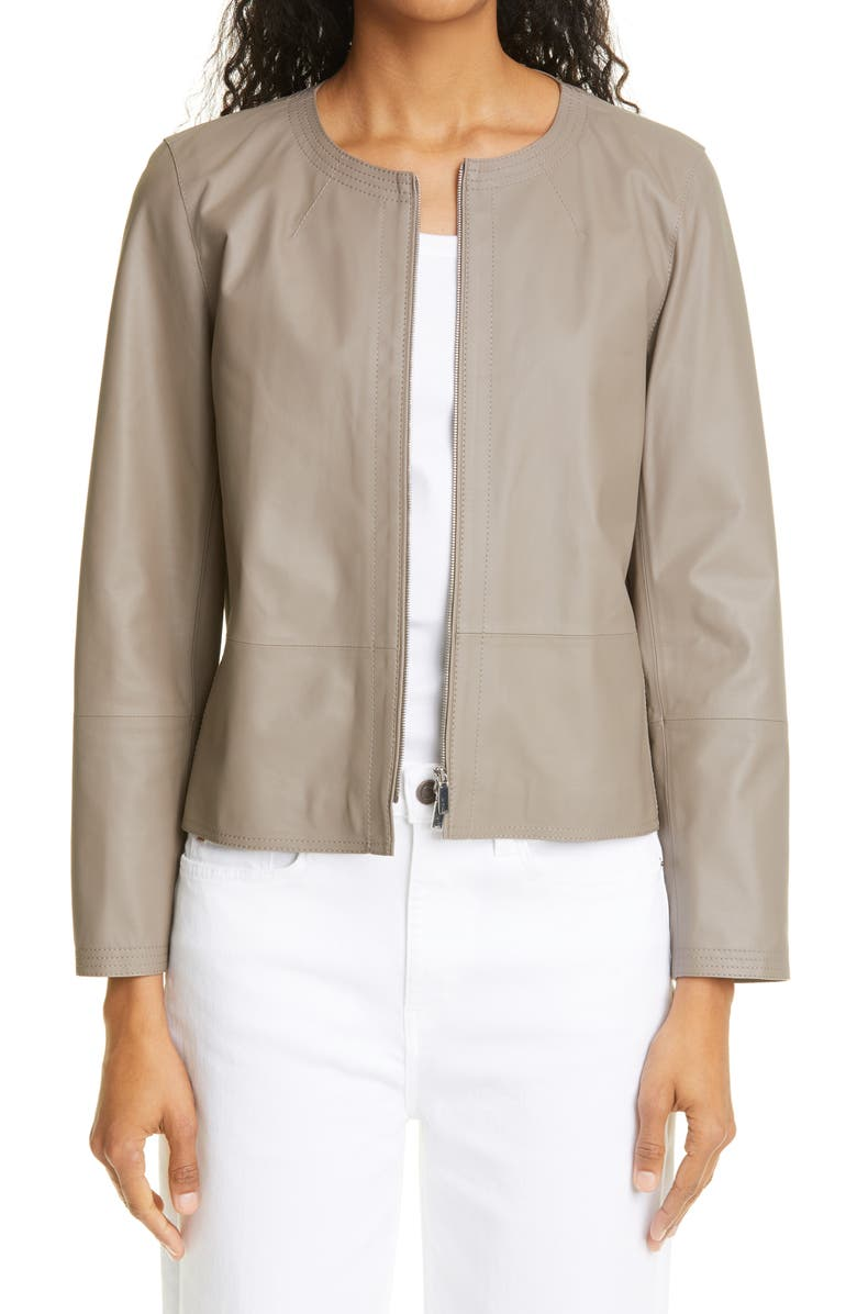 LAFAYETTE 148 NEW YORK Griffith Lambskin Leather Jacket, Main, color, MINK GREY