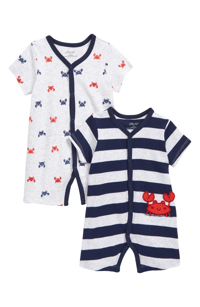 LITTLE ME Crab 2-Pack Rompers, Main, color, 457