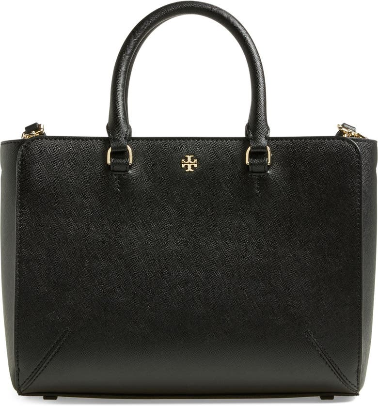 TORY BURCH 'Small Robinson Zip' Leather Tote, Main, color, BLACK