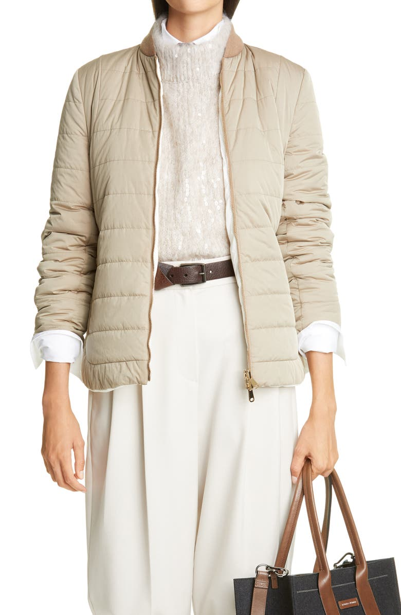 BRUNELLO CUCINELLI Belted Reversible Techno Taffeta Jacket, Main, color, C2147 COOKIE