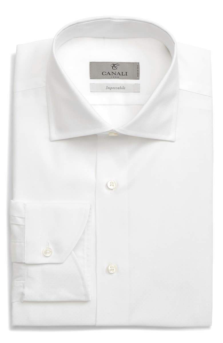 CANALI Slim Fit Non-Iron Solid Dress Shirt, Main, color, 100