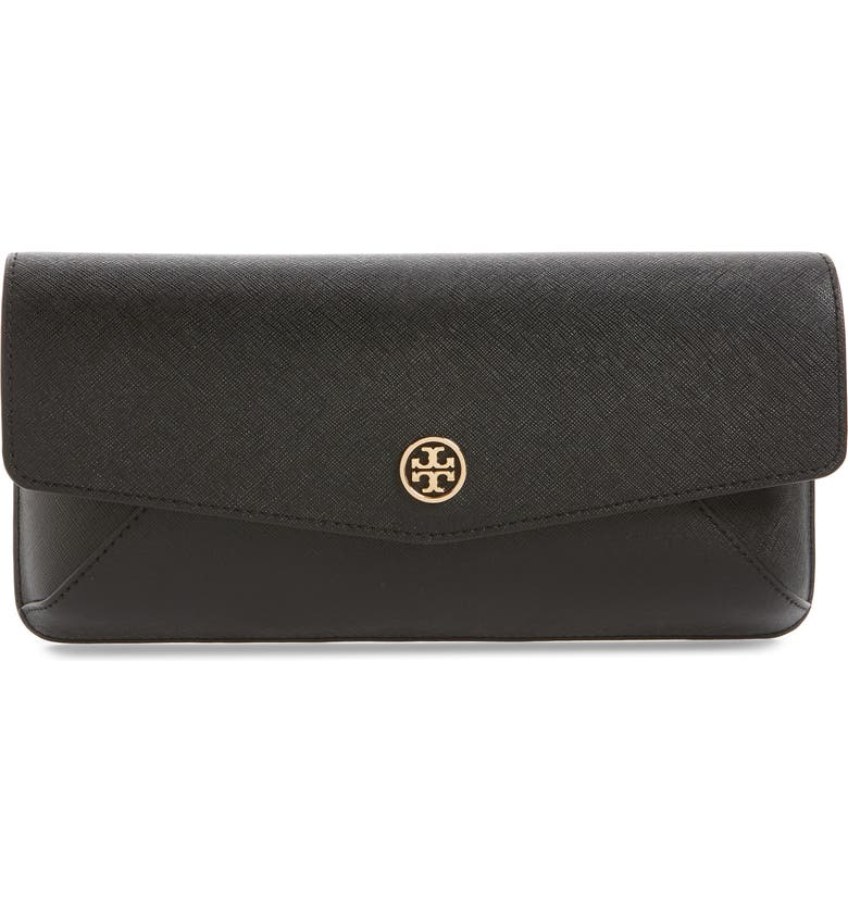 TORY BURCH Robinson Leather Clutch, Main, color, 001