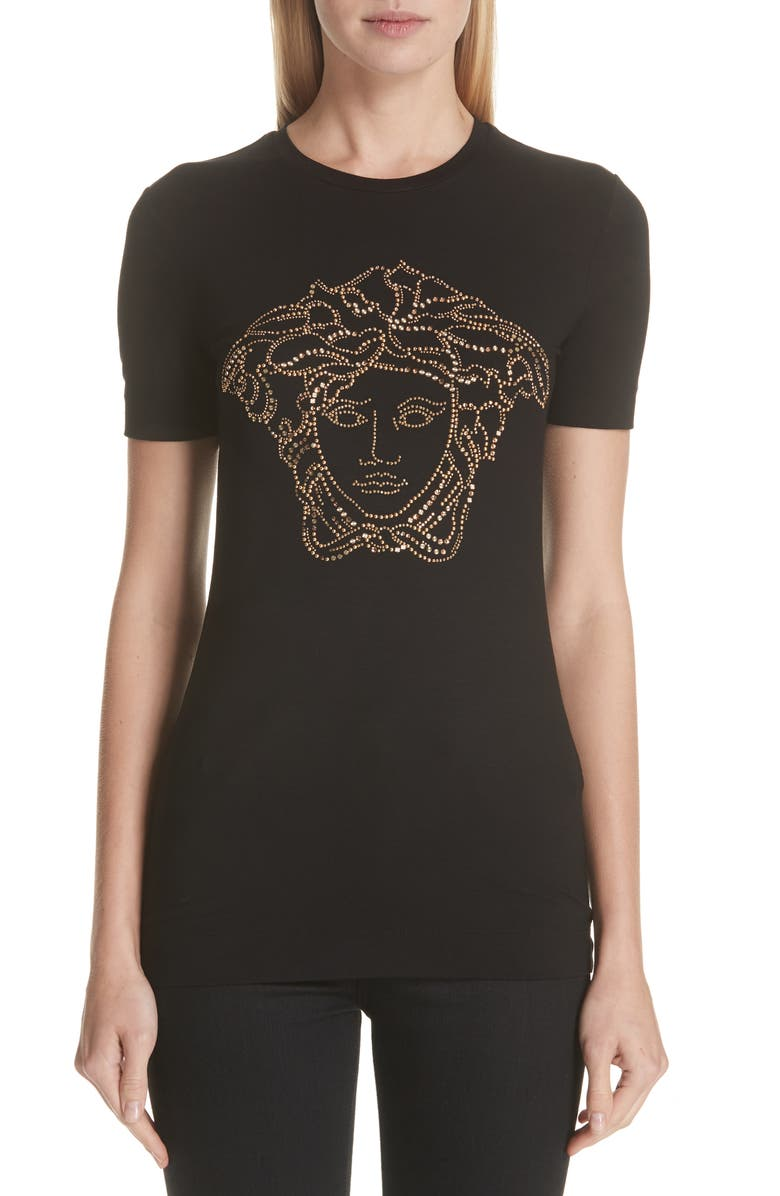 VERSACE Embellished Medusa Graphic Tee, Main, color, 001