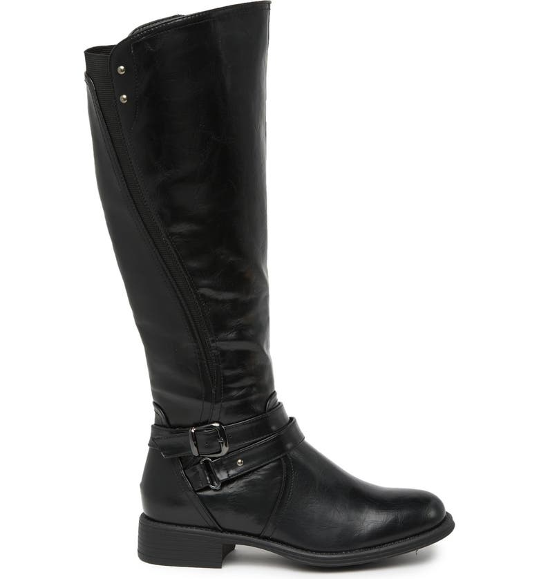 WANTED FOOTWEAR Bergen Buckle Strap Tall Boot, Main, color, BLACK