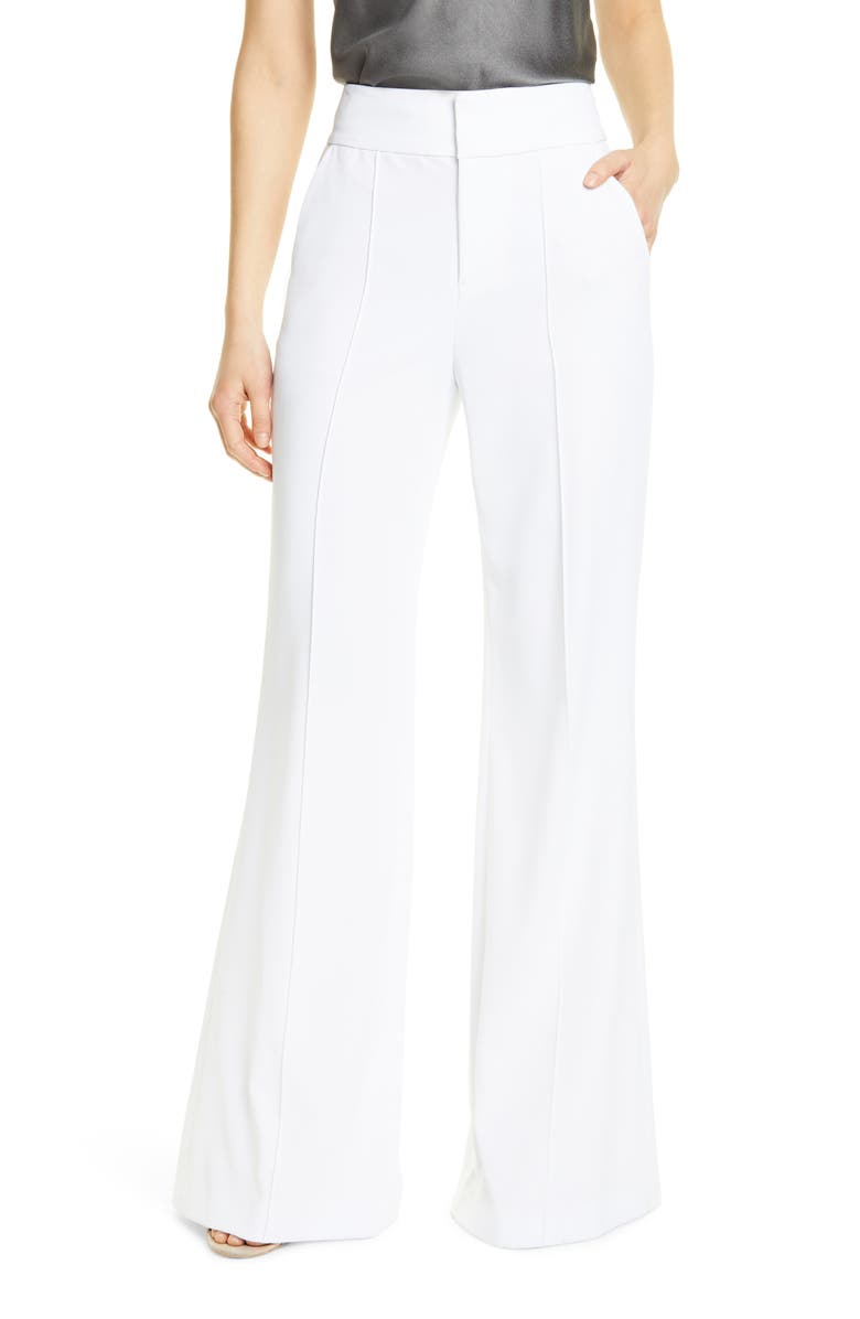 ALICE + OLIVIA Dawn Center Seam Wide Leg Flared Pants, Main, color, 100